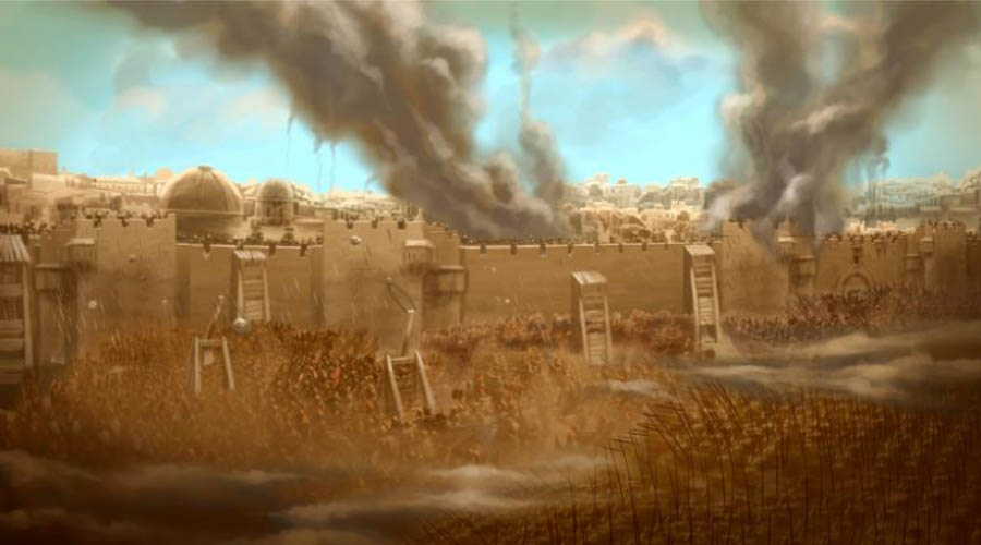 Painting of Roman destruction of Jerusalem.