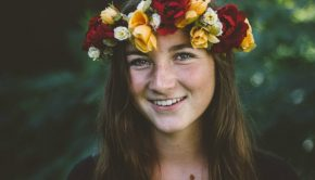 happy girl flower crown mormon smiling