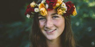 happy girl flower crown mormon smiling