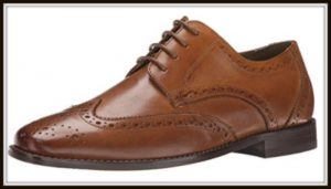 Tan wingtip men's shoe
