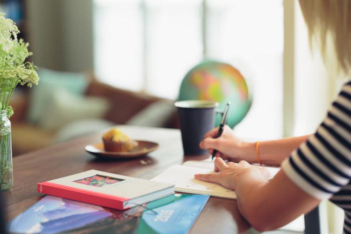 girl studying writing