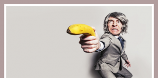 Man with a banana gun