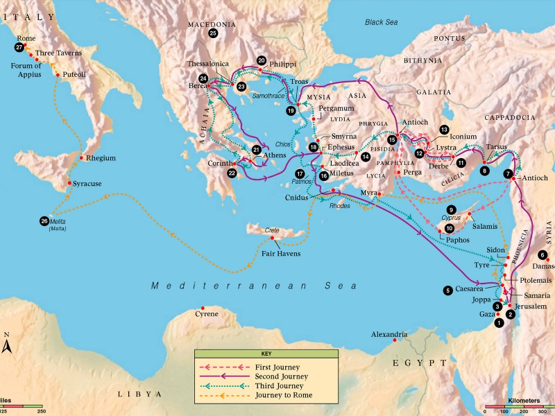 Bible map 13 Journeys of paul