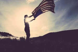 Person With American Flag