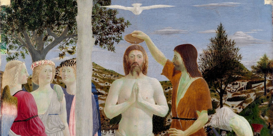 A painting of Christ's baptism.