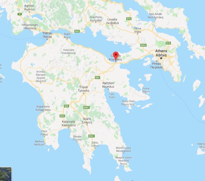 Google map Corinth, Greece