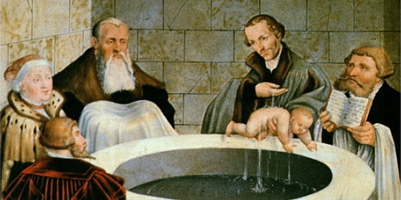 Infant baptism painting.