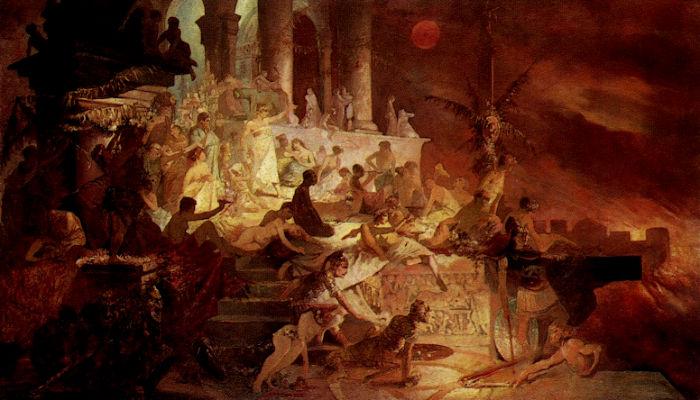Nero watching the burning of Rome by Alphonse Mucha