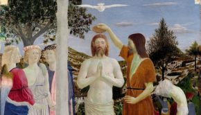 Painting of the baptism of Christ.