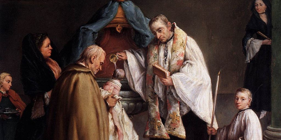 Painting of infant baptism.
