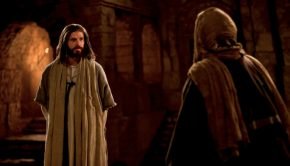 Jesus Christ talking with Nicodemus.