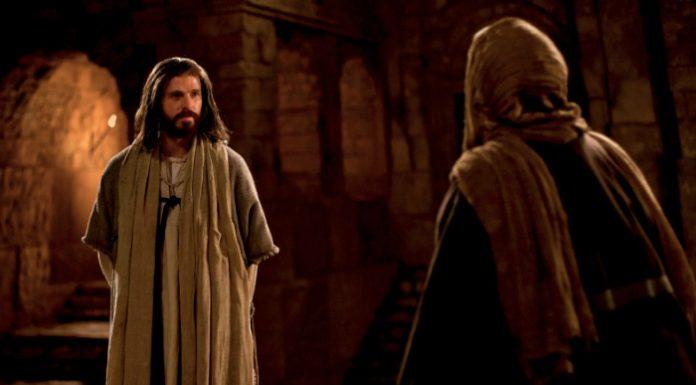 Jesus Christ talking with Nicodemus.