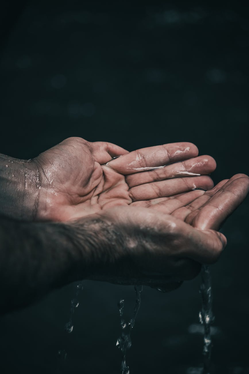 water droplets hands