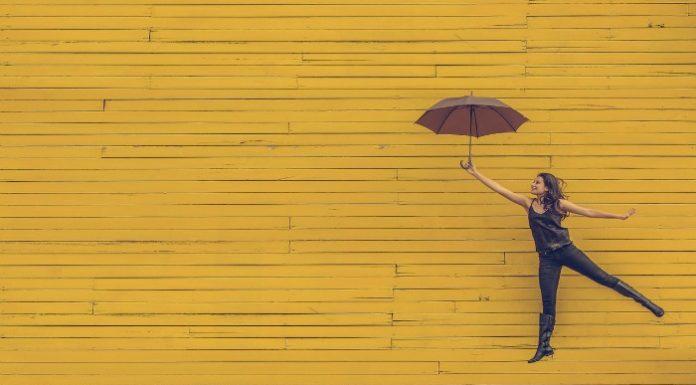 woman joy umbrella