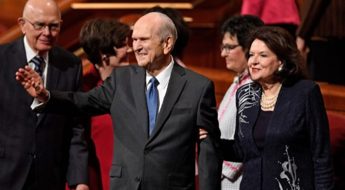 President Nelson and wife Wendy at General Conference