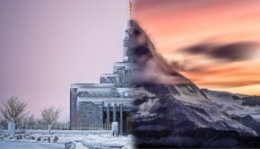 Mormon temple blended with mountain.