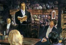 Painting of Joseph Smith in a meeting.