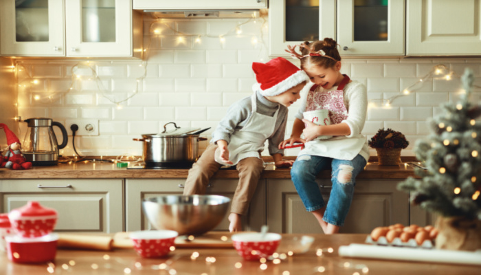 kids in Christmas kitchen