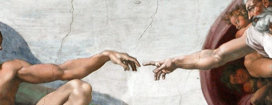 Adam and God, Michelangelo art.