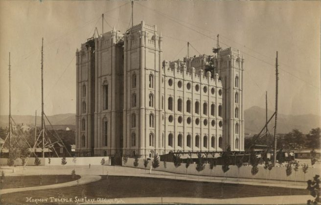 Salt Lake City temple construction photo.