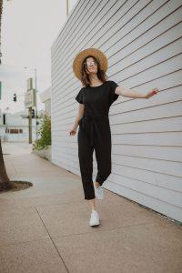 woman walking while wearing jumpsuit