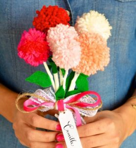 pom pom bouquet for valentine's day