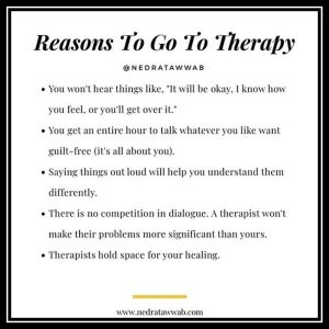 a list of reasons to go to therapy