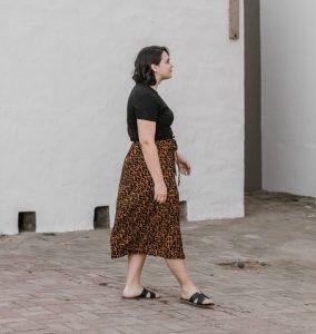 girl in skirt walking