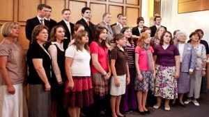 a ward choir singing together