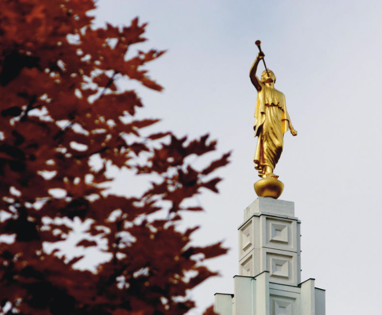 angel moroni statue on top of a temple