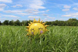sun balloon in a field