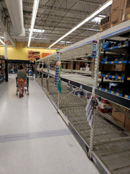 bare shelves at walmart