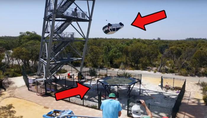 Car falling on trampoline, via Mark Rober's YouTube channel