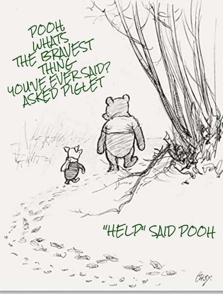 Pooh brave to ask for help
