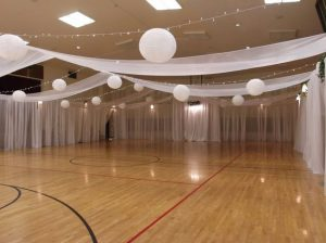 LDS cultural hall decorated for wedding.