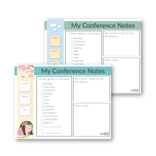 kids general conference notes free printable