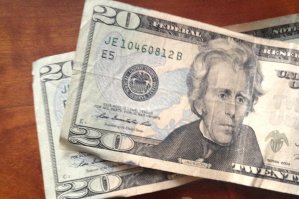 two twenty dollar bills