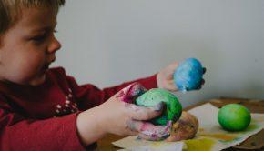 young boy doing quarantine crafts