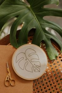 embroidery leaf with real leaf