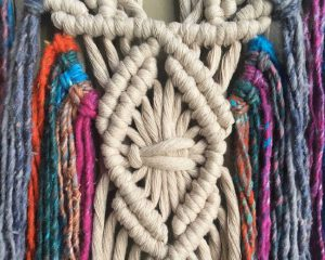 colorful macrame hanging