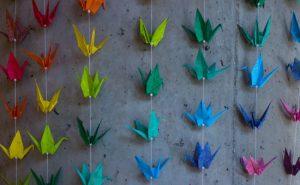 rainbow origami swans