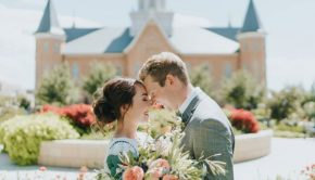 latter-day saint couple wedding outside provo city center temple