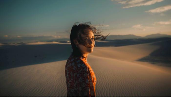 Woman in desert