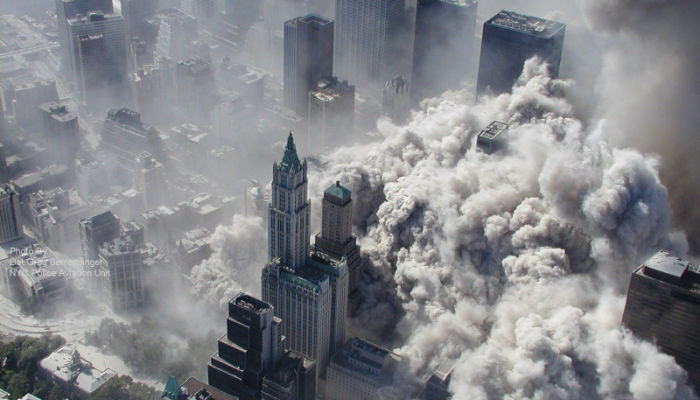 smoke in new york city after the 9/11 attacks