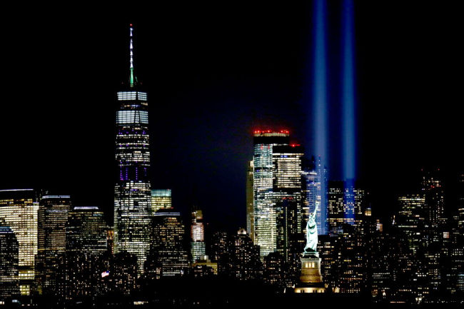 memorial lights at ground zero in new york city