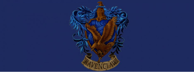 ravenclaw header with symbol and blue raven