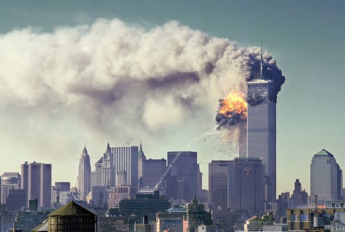 twin tower attacks on 9/11 explosion