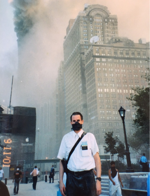 missionary standing in new york in front of terrorist attacks on 9/11