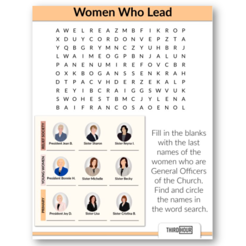 women leaders lds church word search