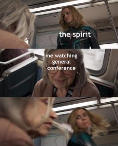 Captain Marvel scene General Conference memes